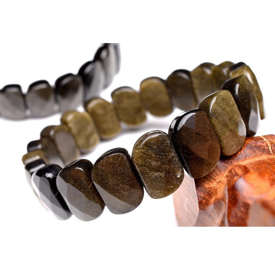 【本質や未来を見通す力】天然石 ゴールデンオブシディアン バングルブレスレット(10x15mm)