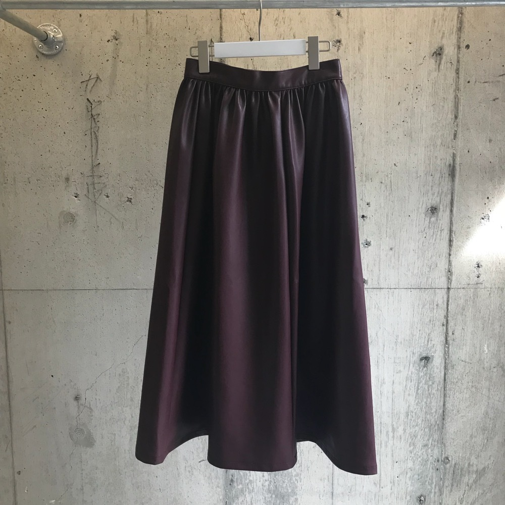 FILL THE BILL  SYNTHETIC LEATHER GATHERED SKIRT 【WOMENS】