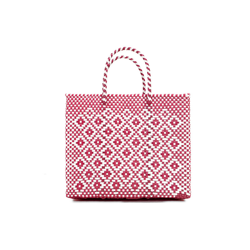 MERCADO BAG ROMBO METALIC - Metalic Pink x White(XS)