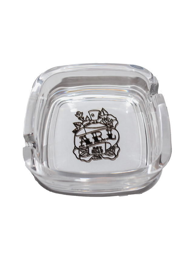 SPRAY ROSE SQUARE GRASS ASHTRAY clear