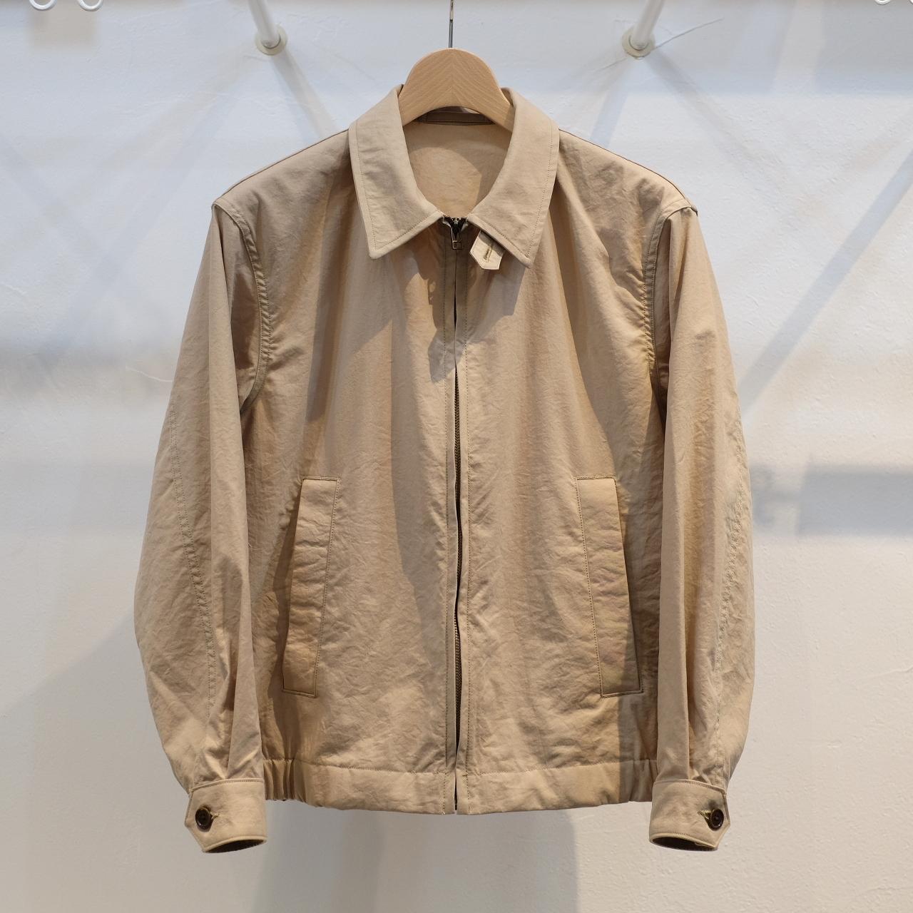 KUON(クオン) オニベジ天然染料染めナイロン ハリントンジャケット ベージュ