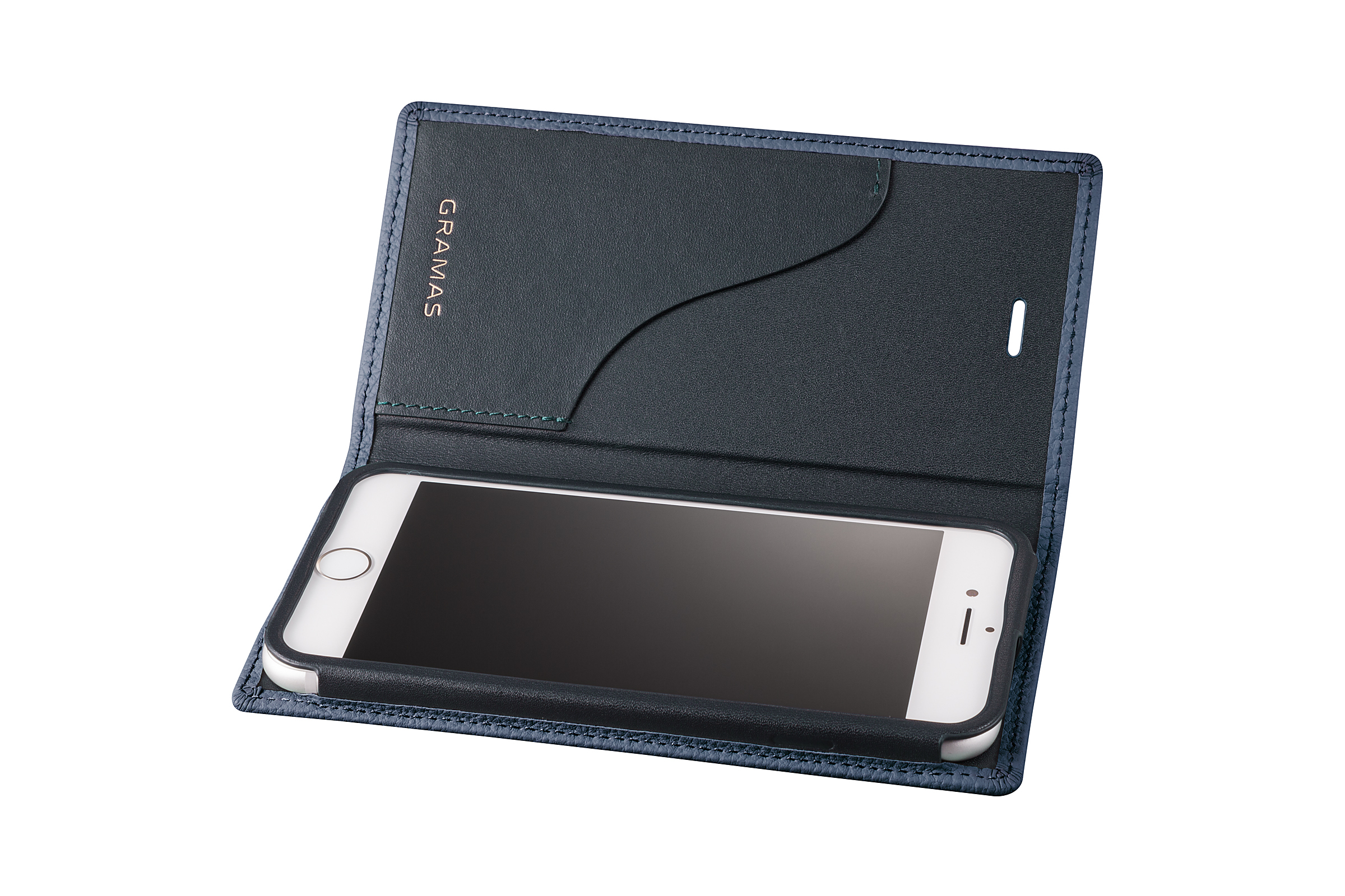 GRAMAS Shrunken-calf Full Leather Case for iPhone 7(Navy) シュランケンカーフ 手帳型フルレザーケース GLC646NV - 画像3