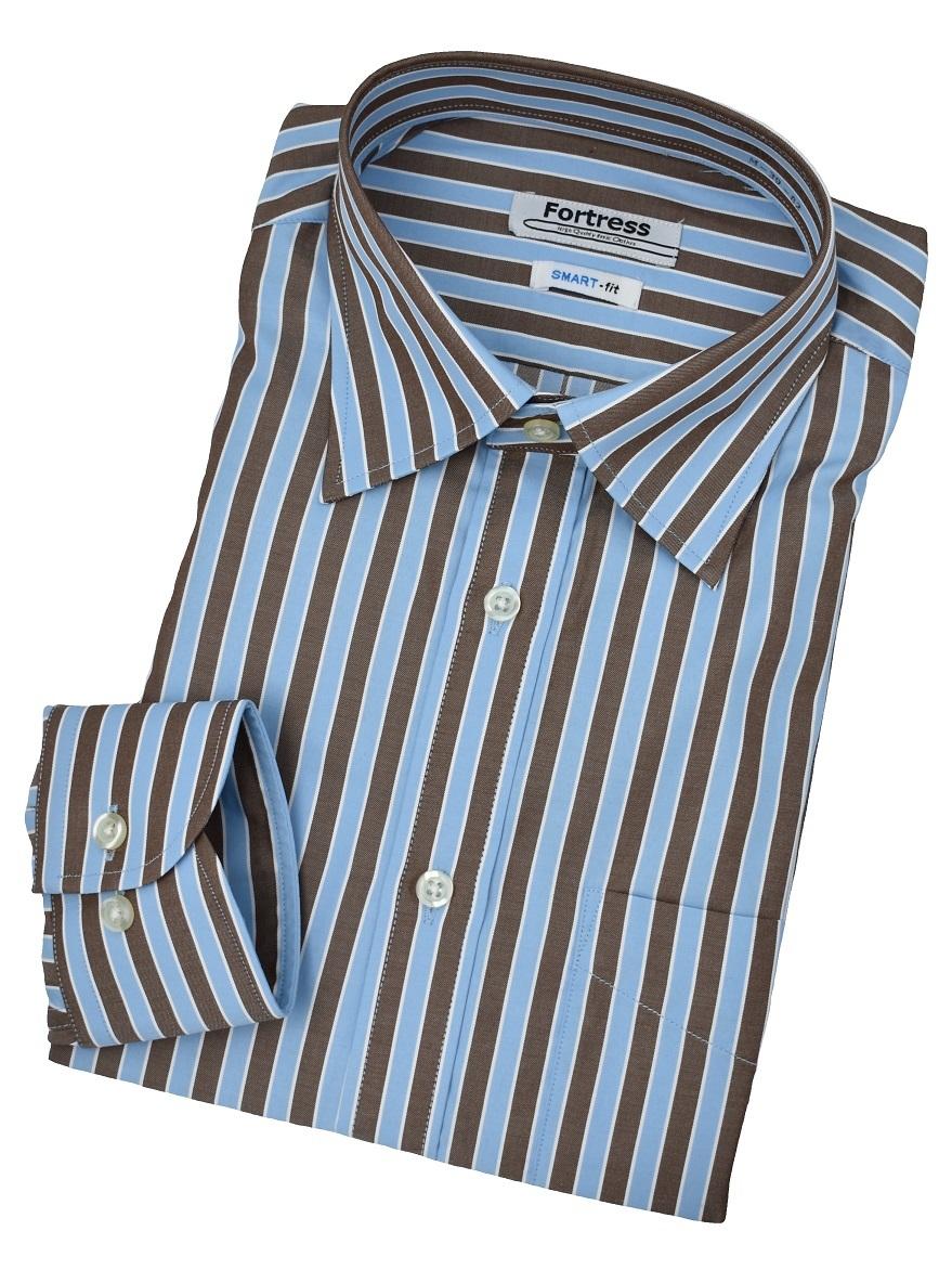ストライプシャツ(ブルー×ブラウン) M161SW