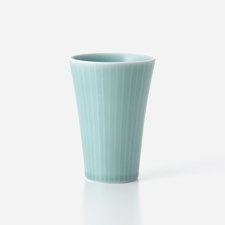 青磁光彩 フリーカップ  (大) 縦線