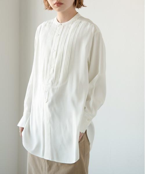 ボザムピンタックドレスシャツ/WHT