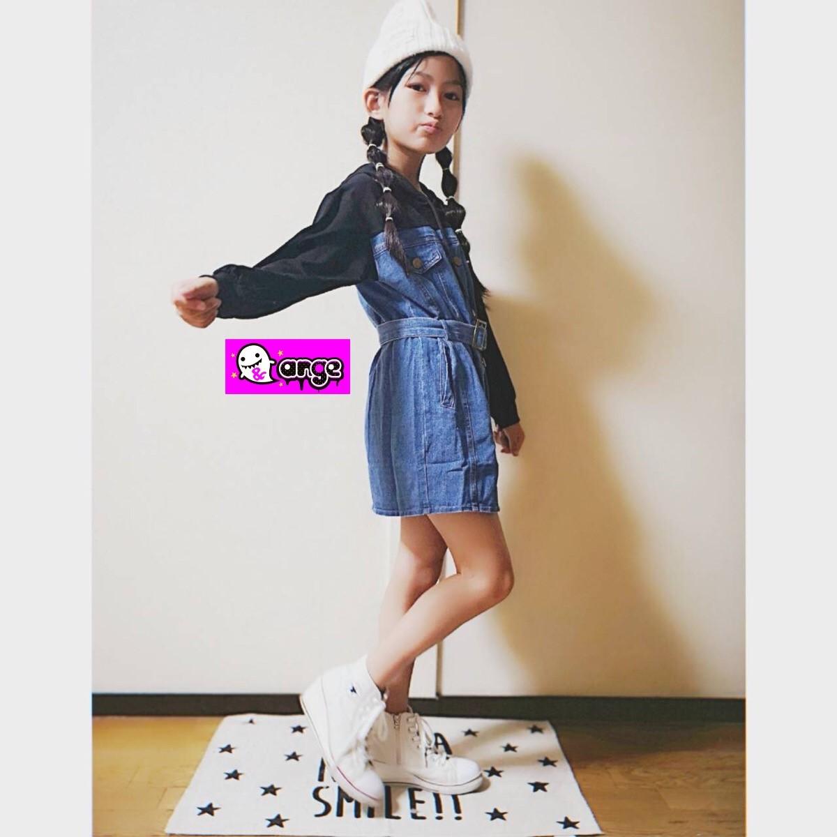 韓国子供服 キッズ デニム×パーカー ワンピース (インスタモデル、むーちゃんTYPE)