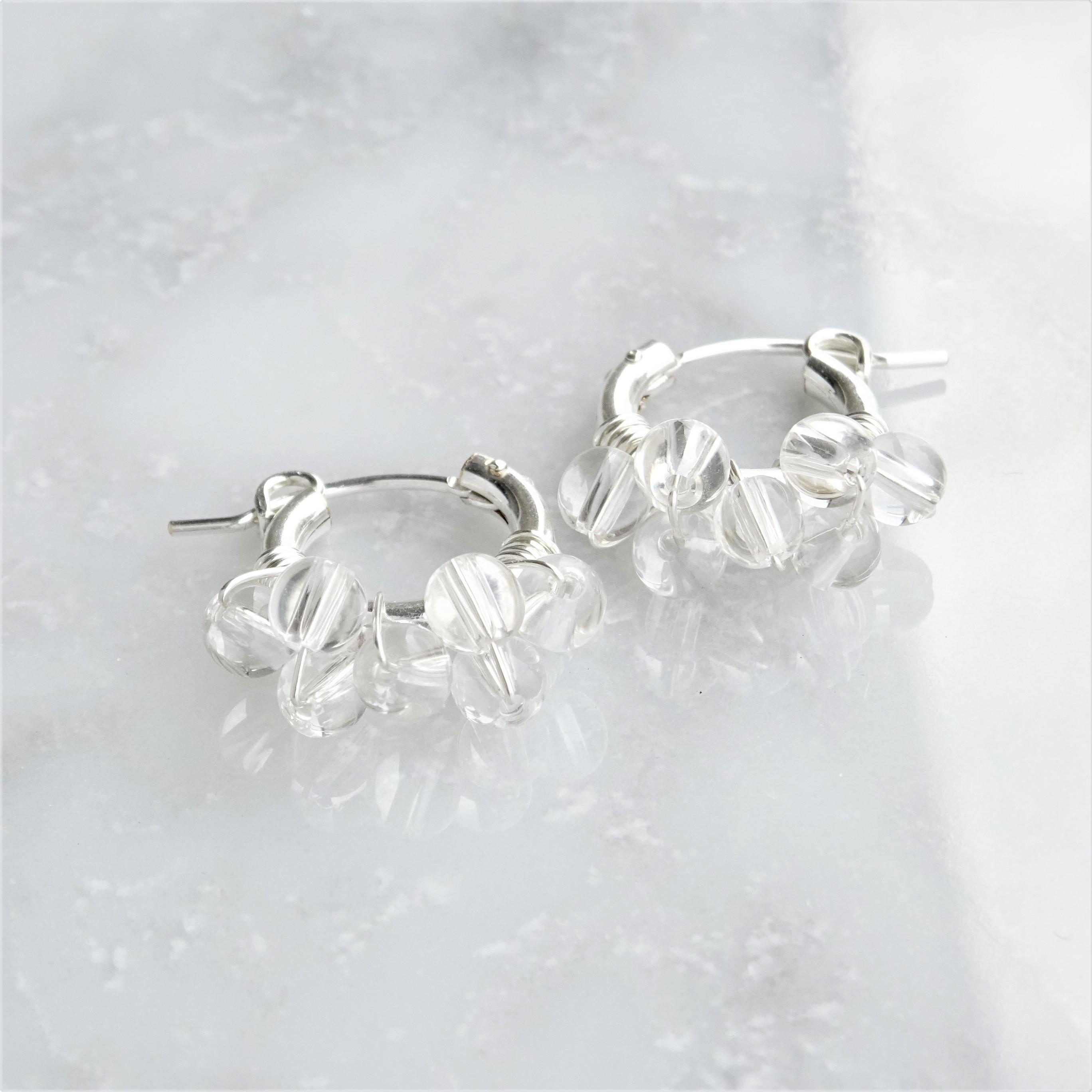 送料無料SV925SF*Crystal Quartz bubble wrapped pierced earring / earring S
