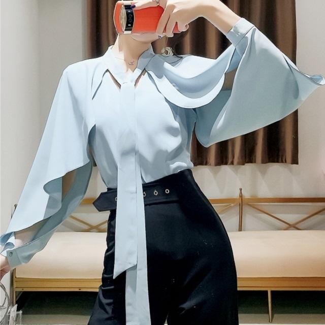 トレンド◎人気のお品◎ トップス ブラウス エレガント デザイン フレア ブラウス タイ ホワイト ブルー ブラック