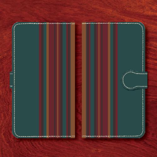 レトロストライプ/昭和レトロ/レトロ家具調/青緑系色/Androidスマホケース(手帳型ケース)
