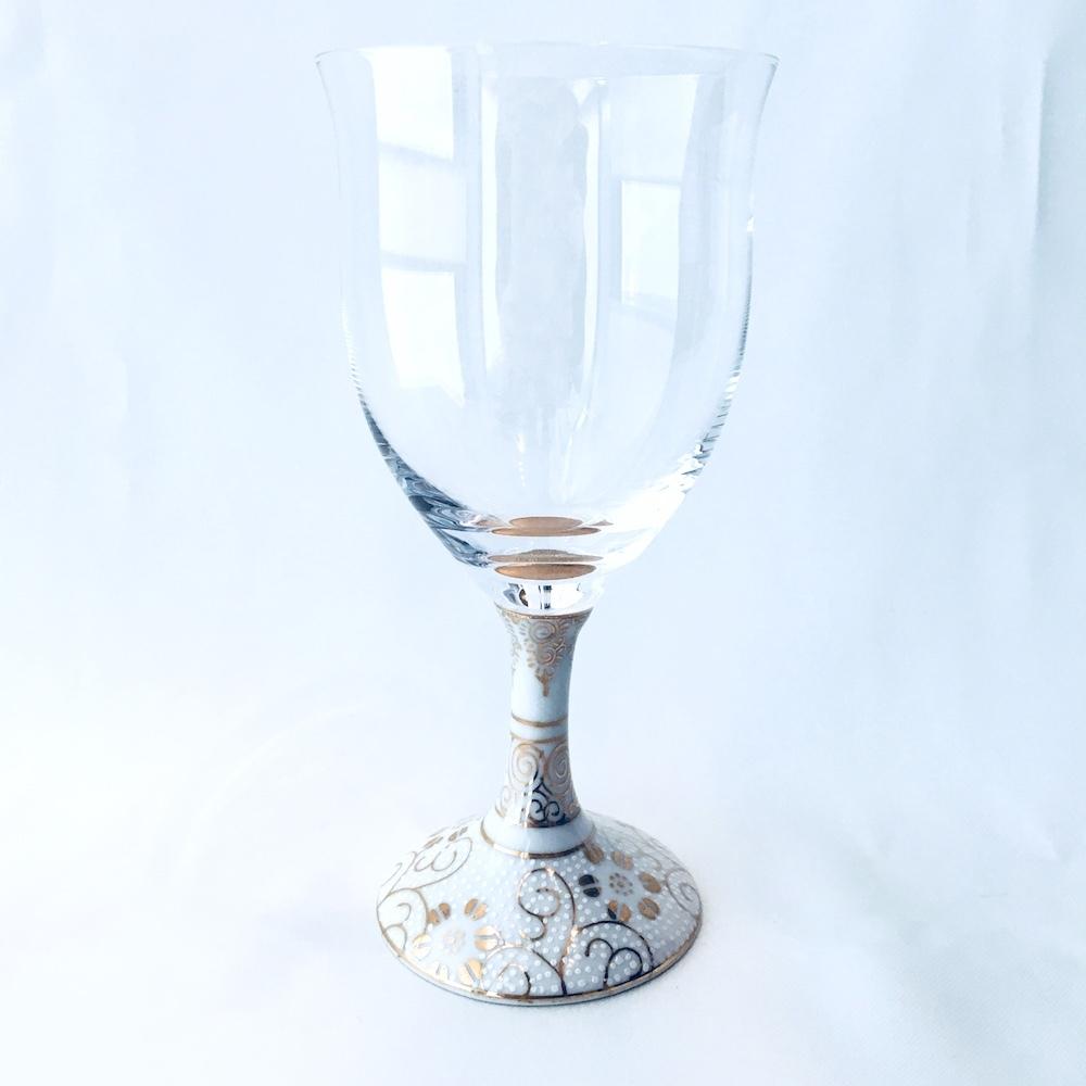 九谷和グラス(ワイングラス) 白粒鉄仙