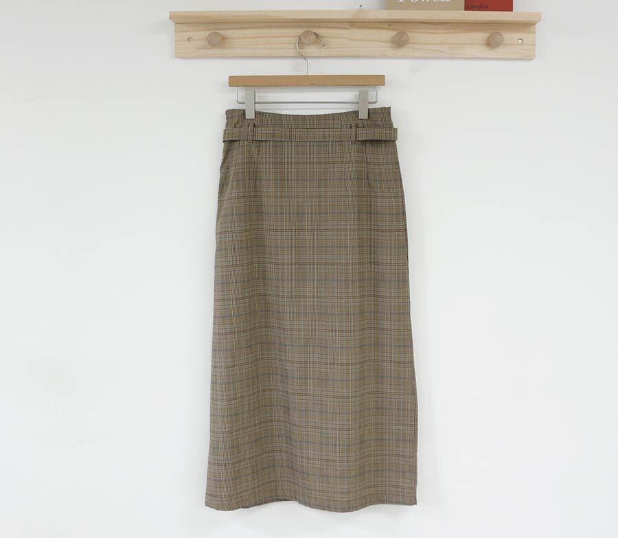 〈カフェシリーズ〉グレンチェックハイウエストスカート 【glen check high waist skirt】