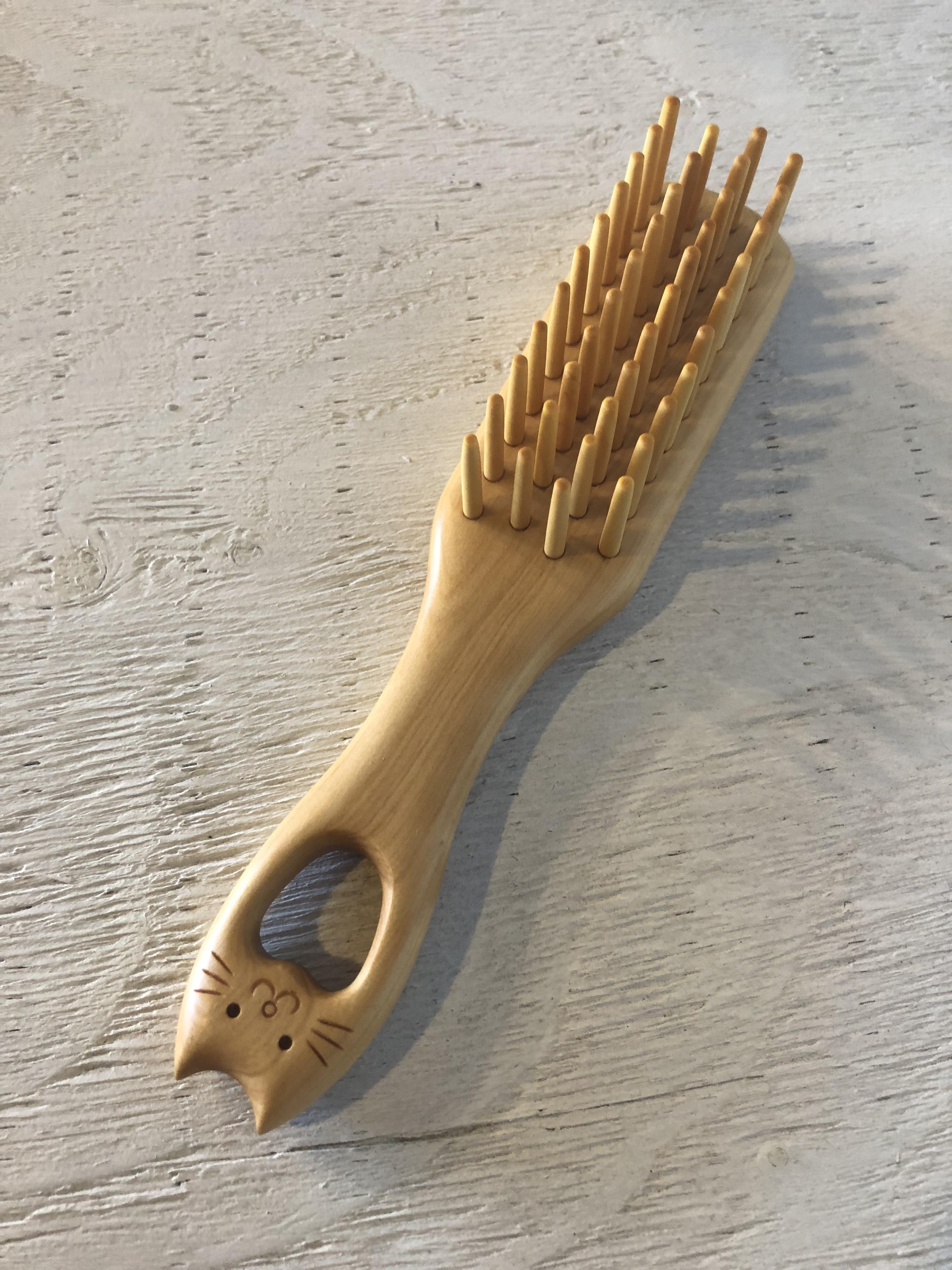 つげ工芸 猫4列ブラシ