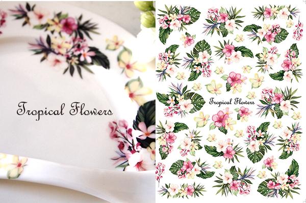 水彩 トロピカルフラワー TropicalFlowers Aサイズ(ポーセラーツ用転写紙 南国花)