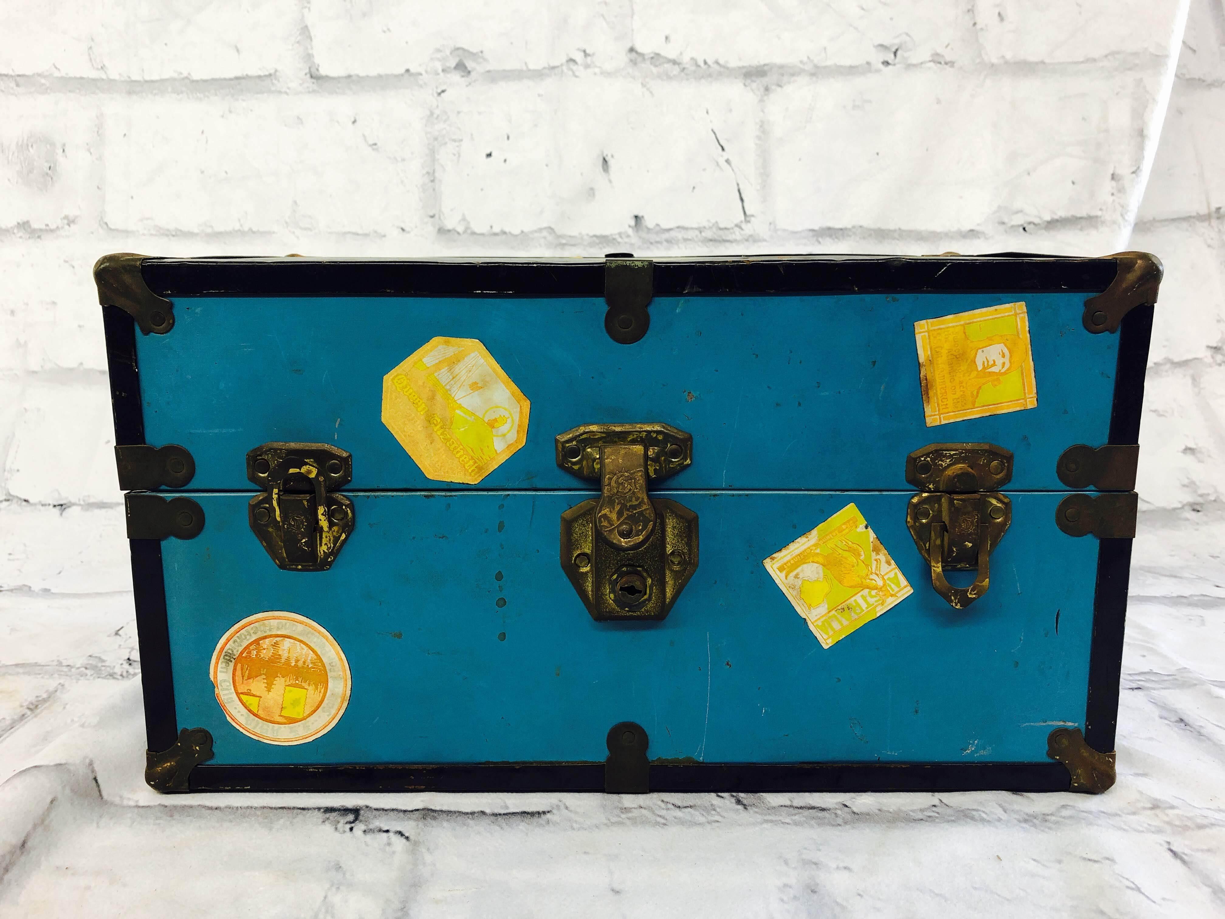 品番0099 ドールトランクケース ヴィンテージ ブルー トランクケース スーツケース  人形ケース