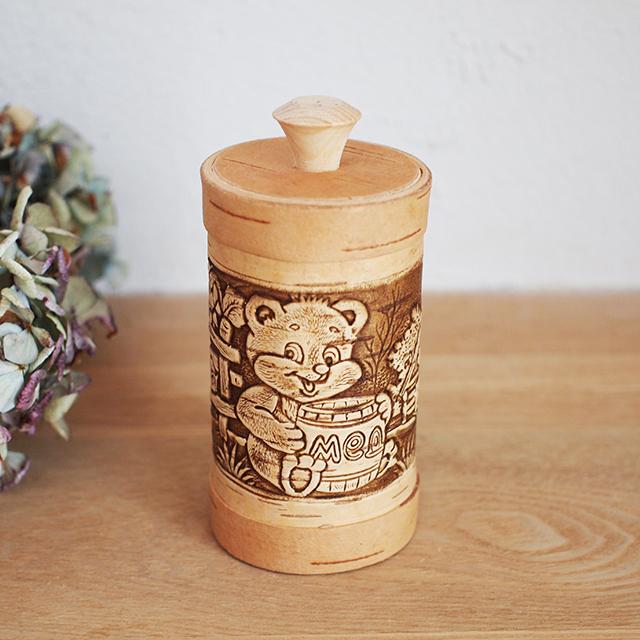 【ロシア】 白樺工芸 ベレスタ 筒型キャニスター (くまと蜂蜜入れ)