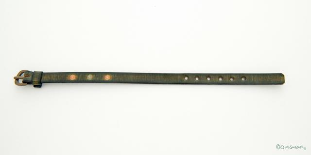 木版染革ベルトカーキー丸S