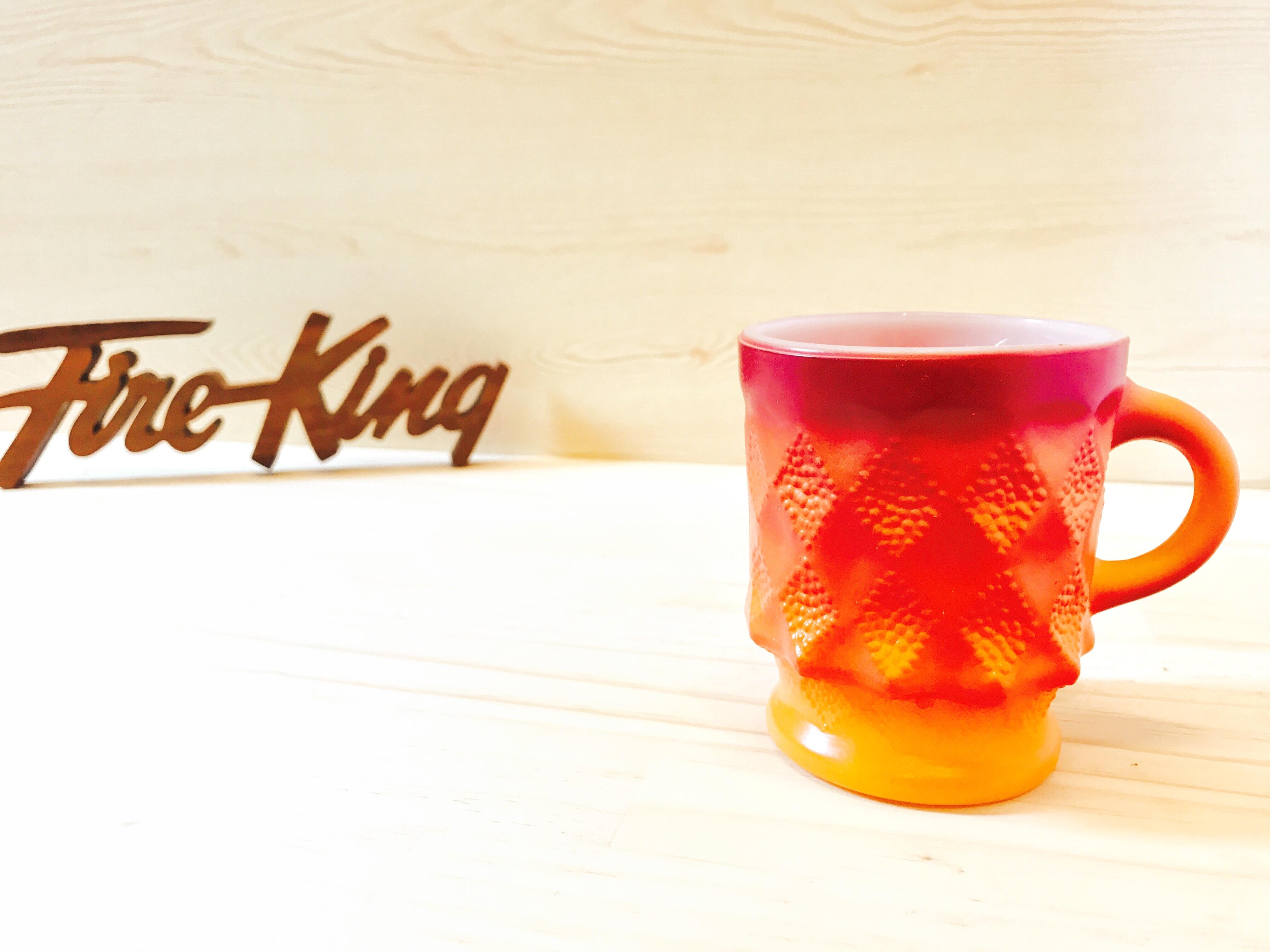 """[Fire King] ダイヤモンドマグ """"キンバリー"""" レッド・オレンジ ミルクガラス (識別No.21001)"""