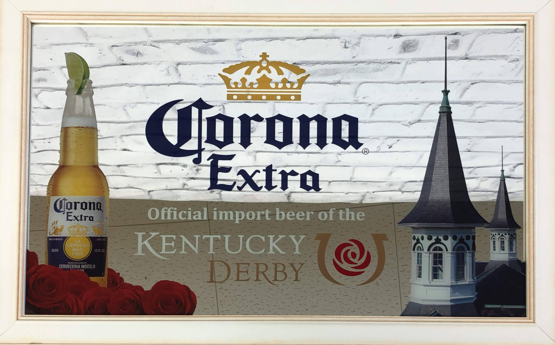 品番0378 パブミラー 『Corona Extra(コロナ エキストラ)KENTUCKY DERBY(ケンタッキー ダービー) 』 壁掛 ディスプレイ アメリカン雑貨 ヴィンテージ