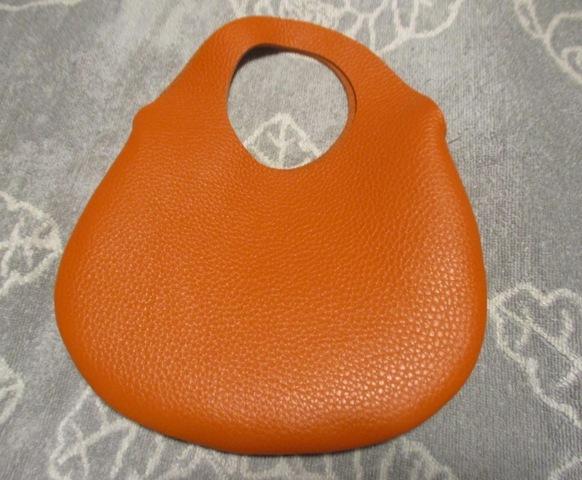 小さな革の袋・トリヨン有機デザインのバッグ・オレンジ