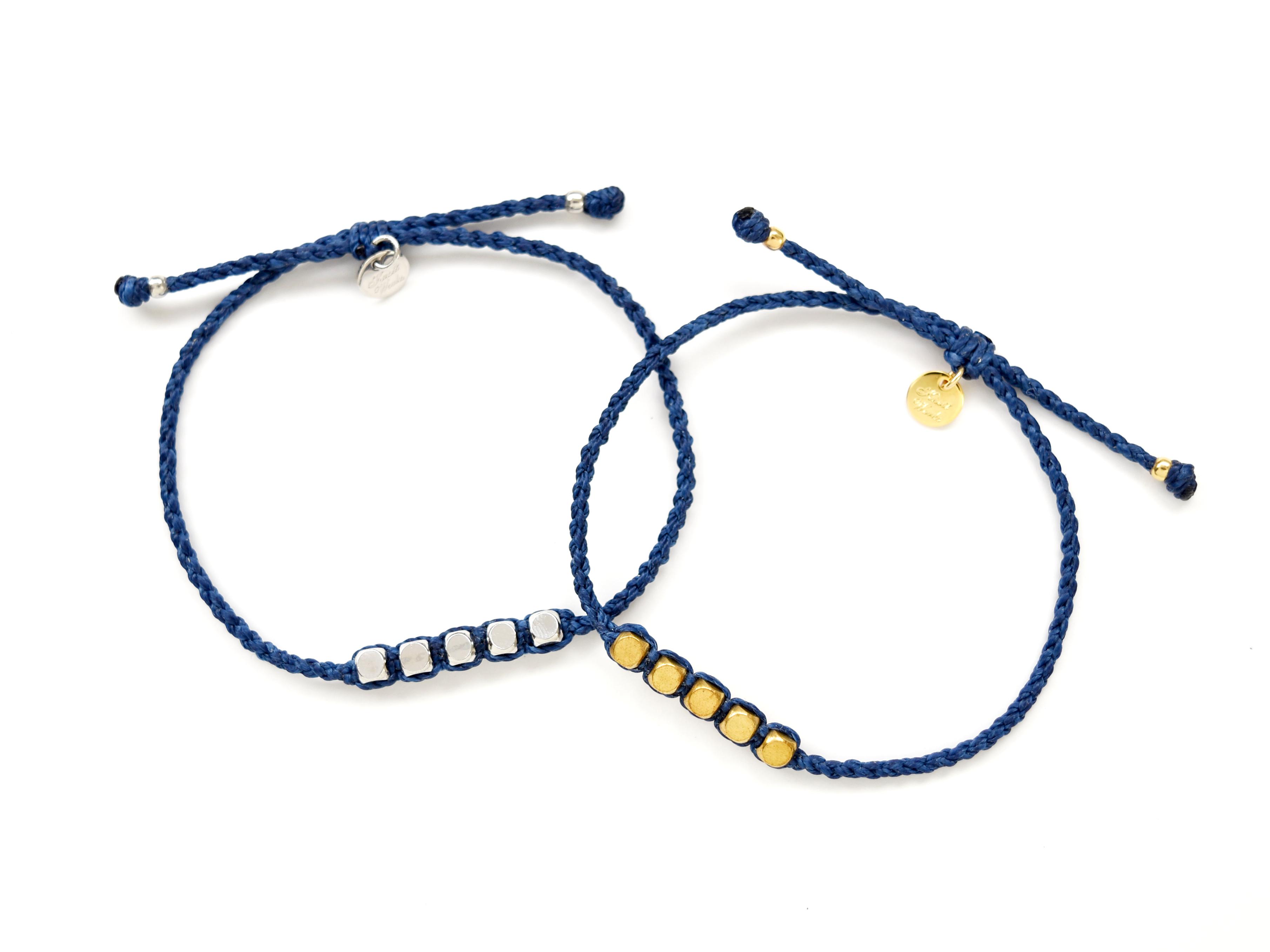Brass Beads Bracelet/Blue (Gold/Silver)[真鍮ブレスレット]