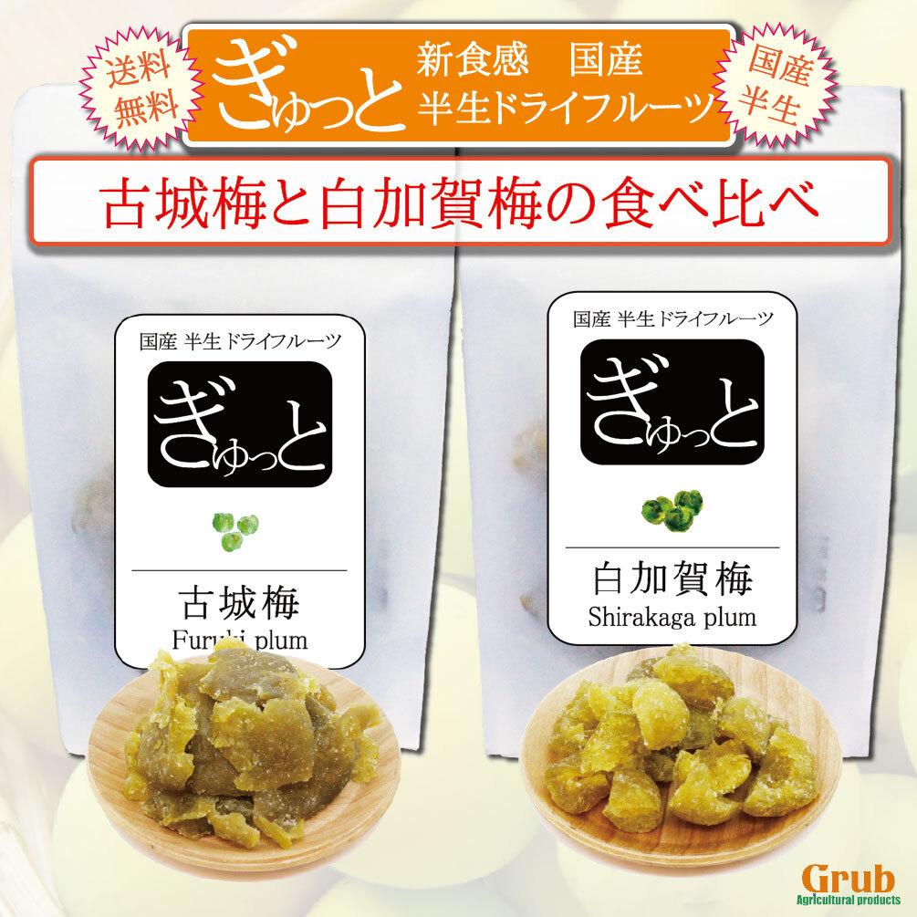 国産梅のドライフルーツ食べ比べ  古城梅(和歌山)と白加賀梅(群馬)の2種食べ比べ