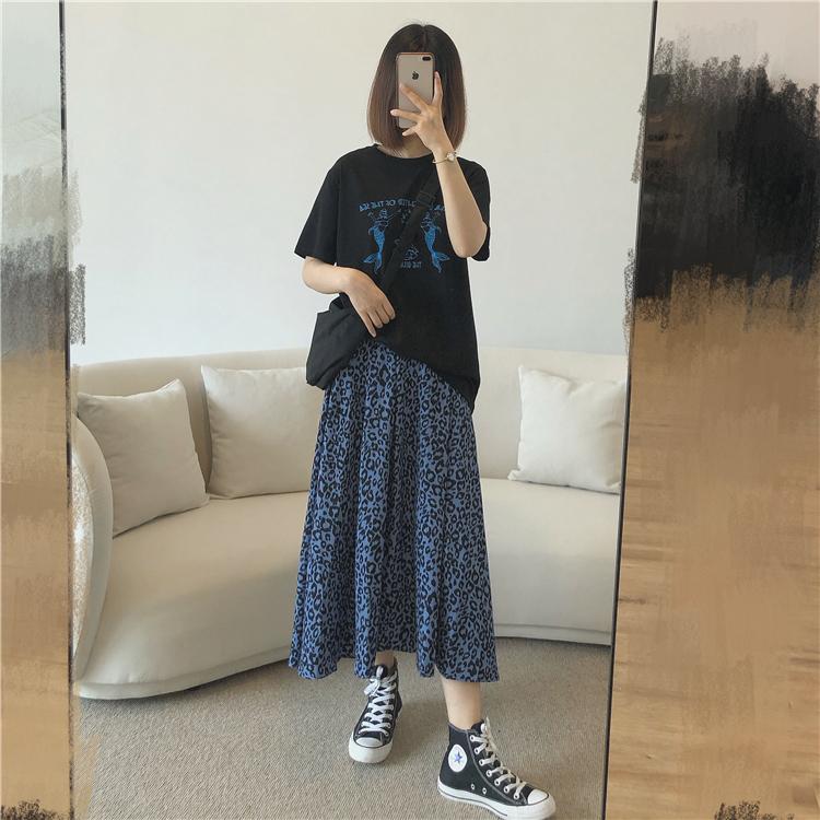 ブルーレオパードロングスカート【blue leopard long skirt】