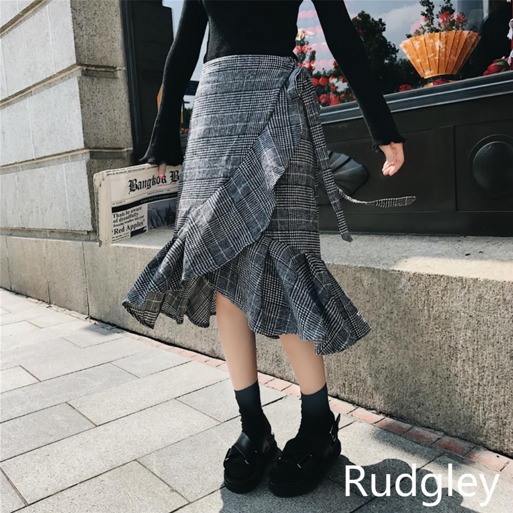 レトロハイウエストチェック柄巻きスカート