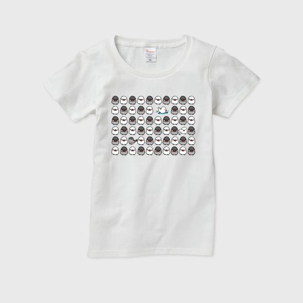 Tシャツ 文鳥 文鳥グッズ tシャツ 通販 レディース 鳥 tシャツ メンズ キッズ 白tシャツ かわいい 女の子 半袖tシャツ 文鳥ラッシュ/facile×ケースガーデン【ホワイト】