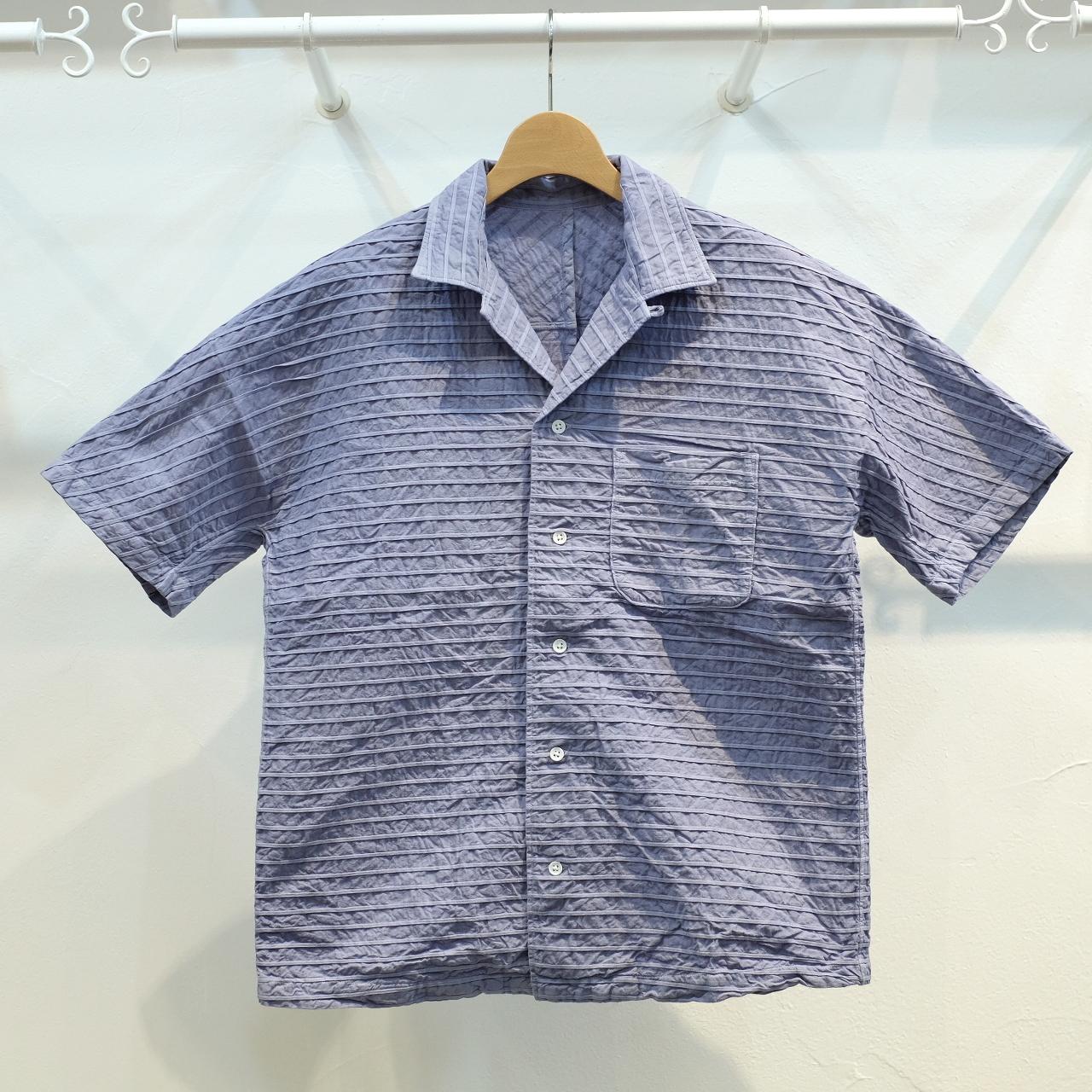 KUON(クオン) 織ピンタック 新万葉染半袖シャツ パープル