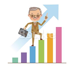 イラスト素材:棒グラフの上を登る社長・経営者(ベクター・JPG)