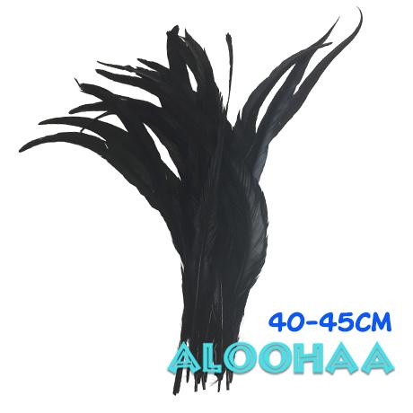単色 ロングフェザー【黒】40-45cm 10本 DIY 羽 衣装材料 タヒチアン