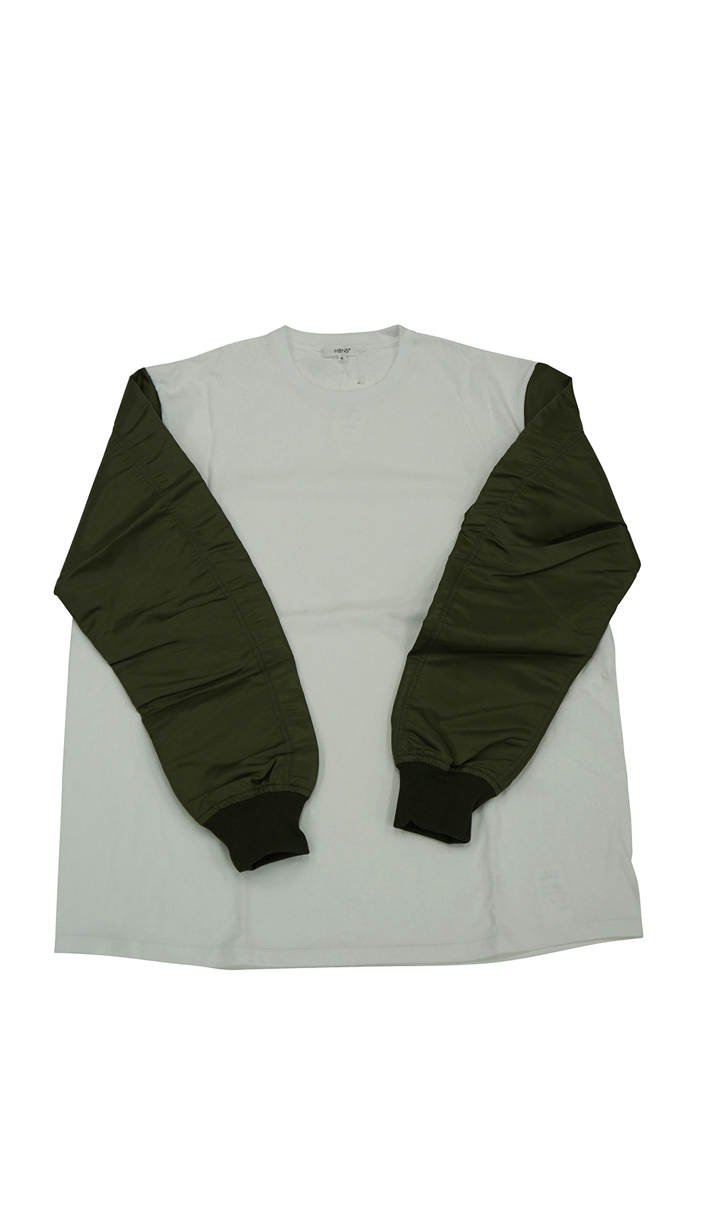 FLIGHT-SLEEVE L/SL Tee (WHITE / KHAKI)
