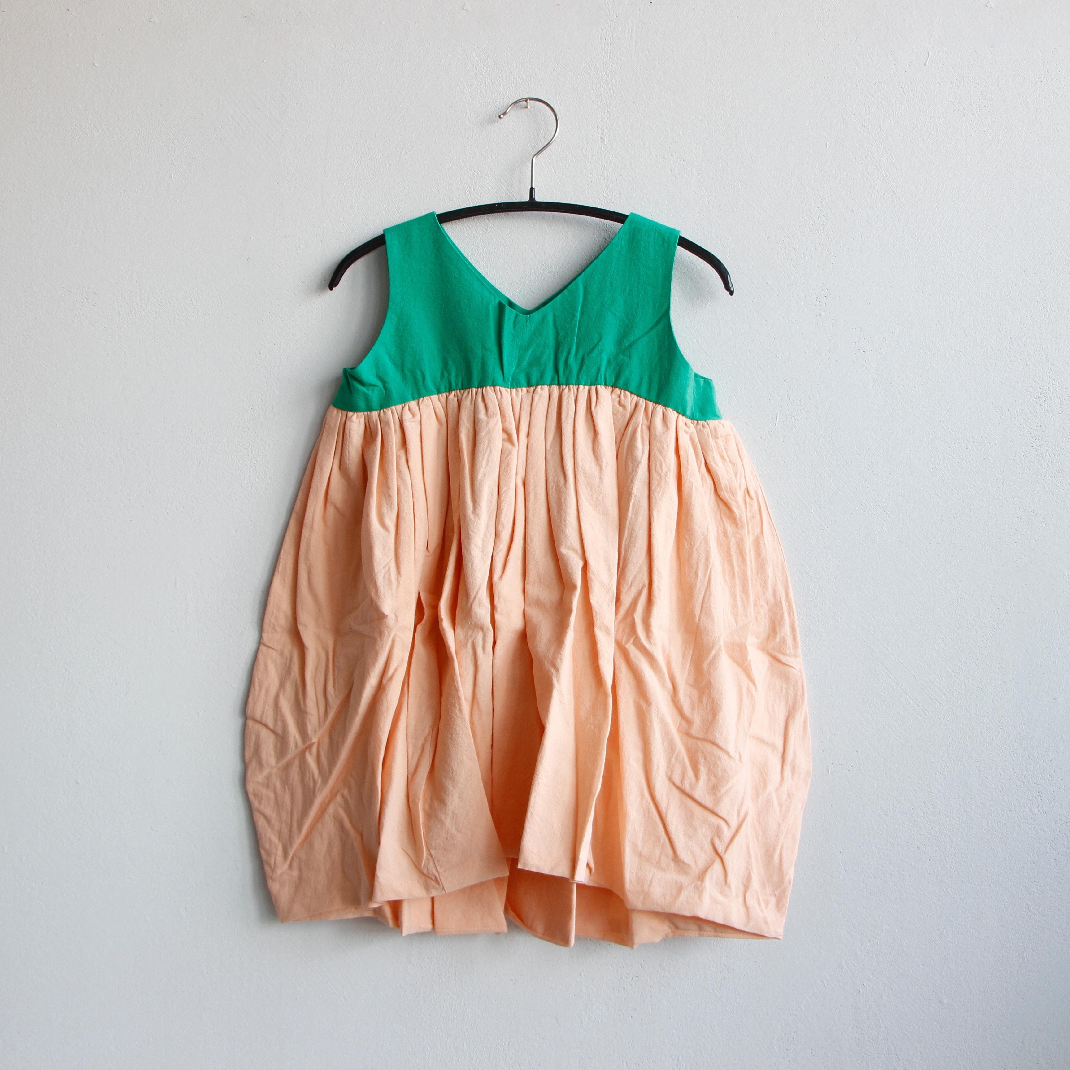 《frankygrow 2020SS》V-NECK DRESS DYED / green × pink / LL
