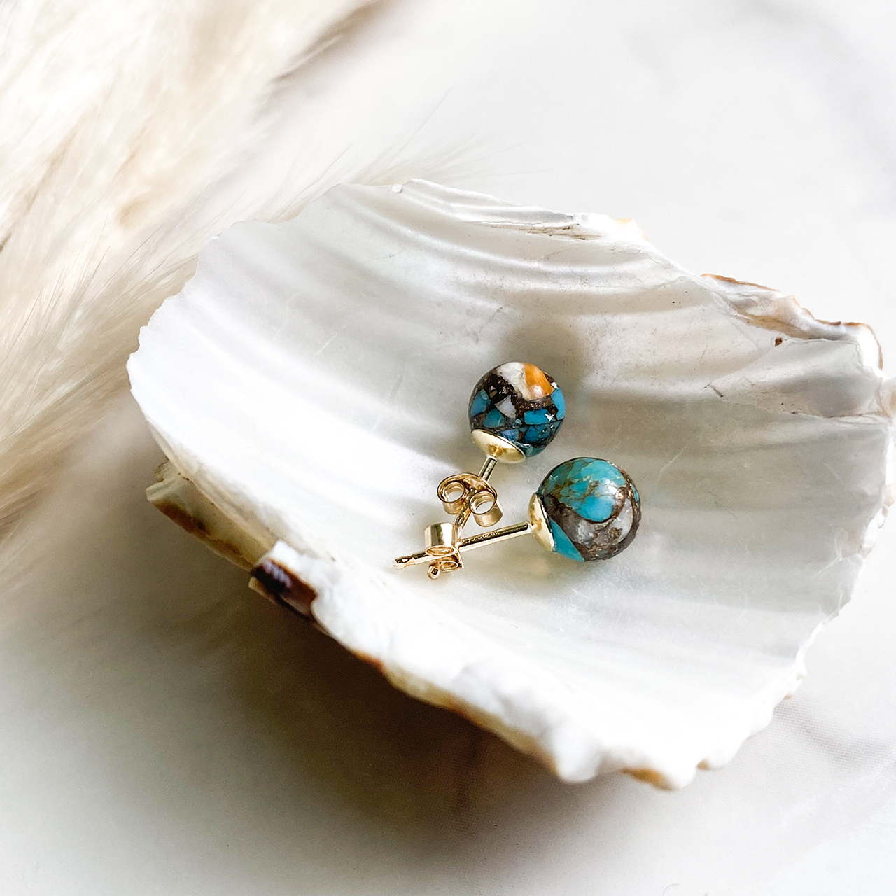 Oyster Capper Turquoise Post Pierce