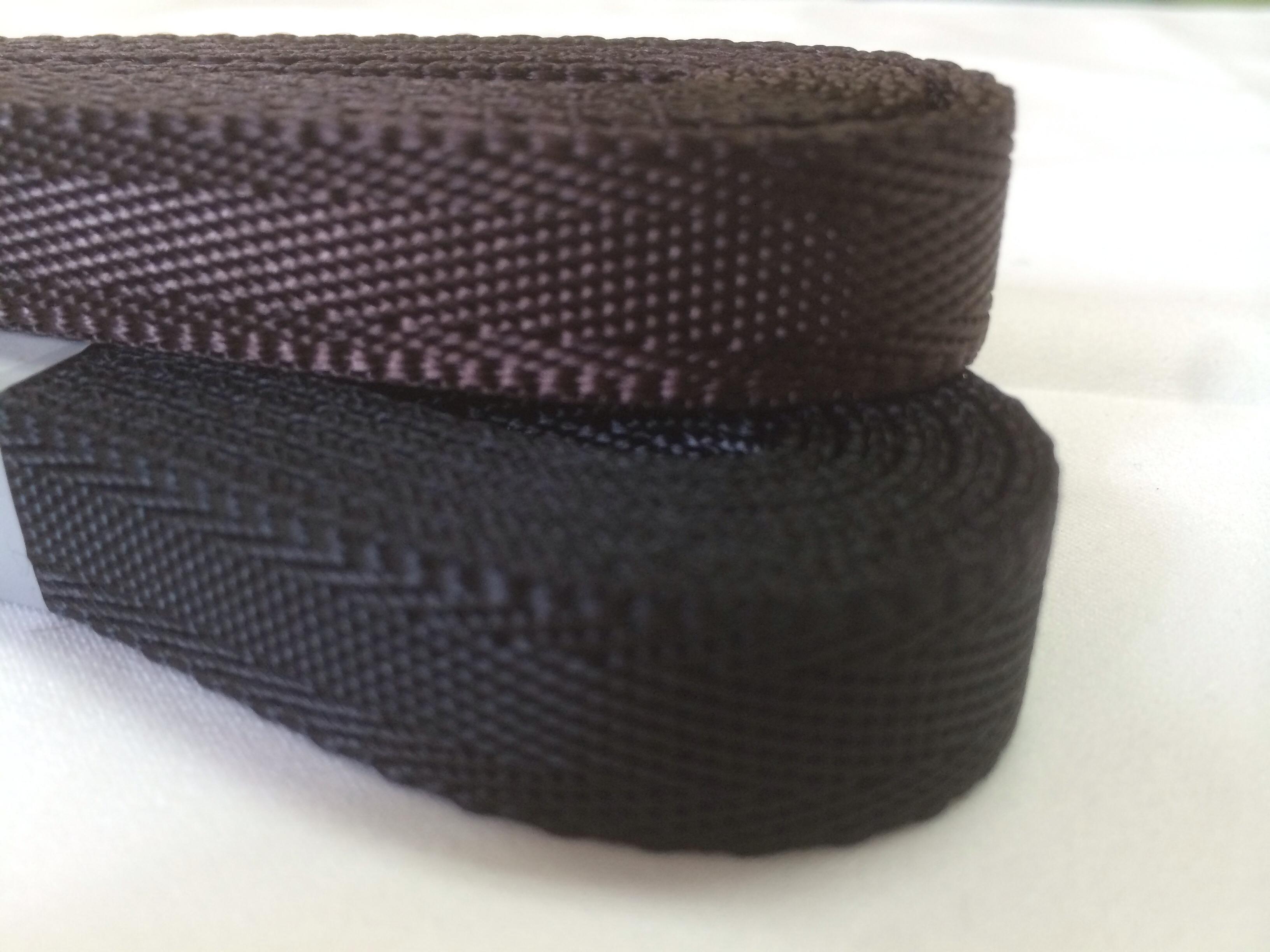 ナイロン シート織 20mm幅 1.3mm厚 1m 黒