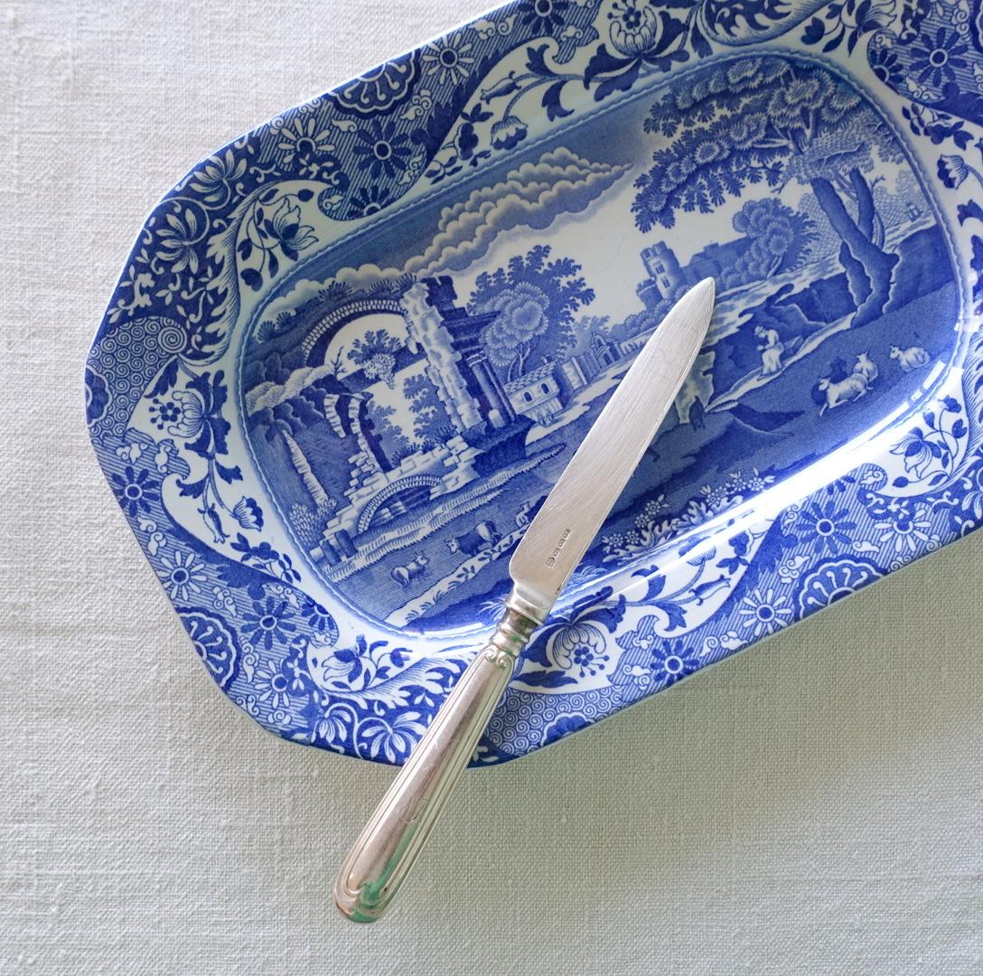 ブルーイタリアンの小振りなオーバル皿
