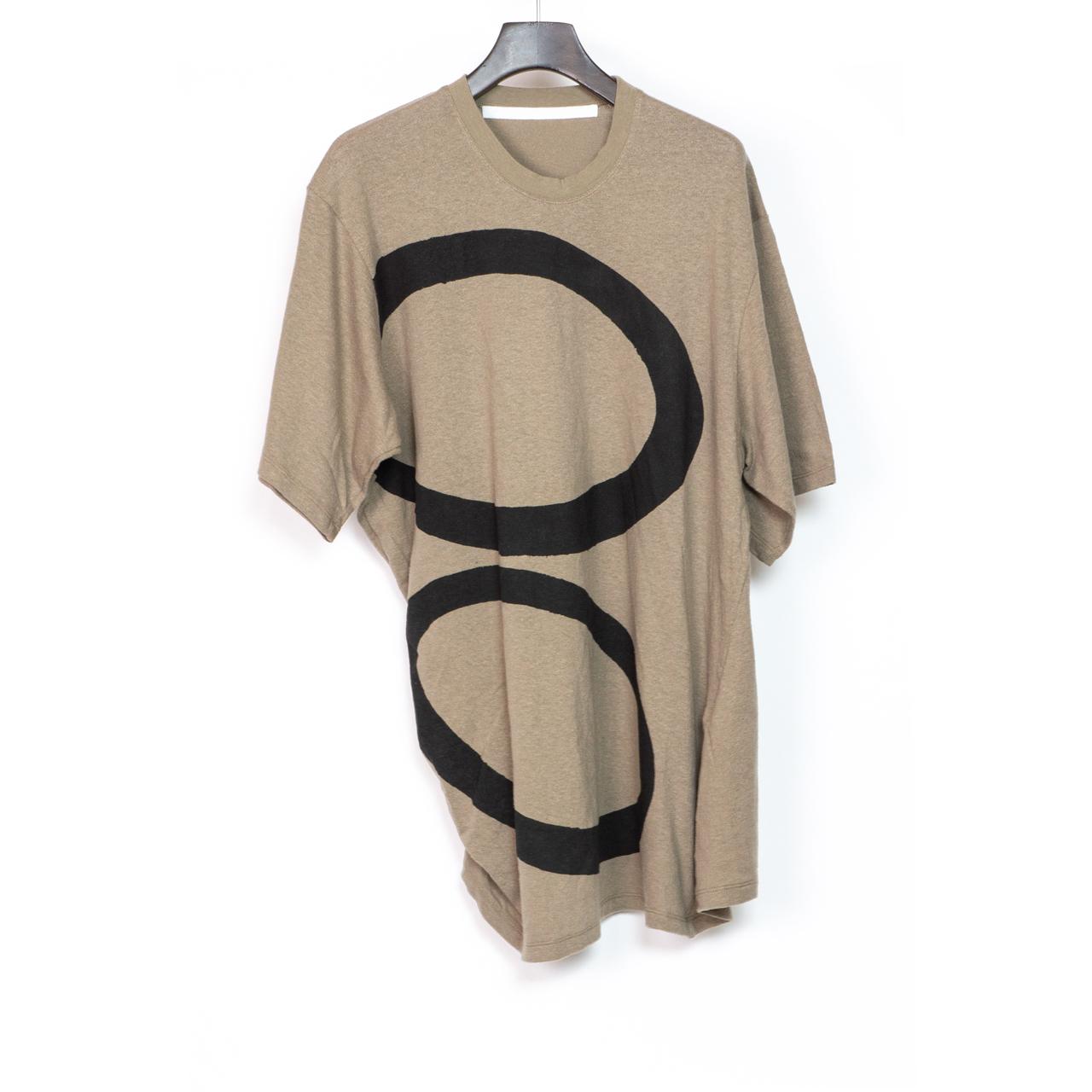 697CUM10-P-SAND / サイドドレープ Tシャツ