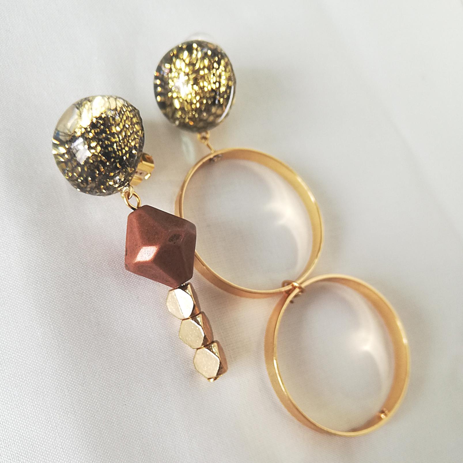 """"""" Earrings NO.0-1837″ レースとトルコブロンズ"""