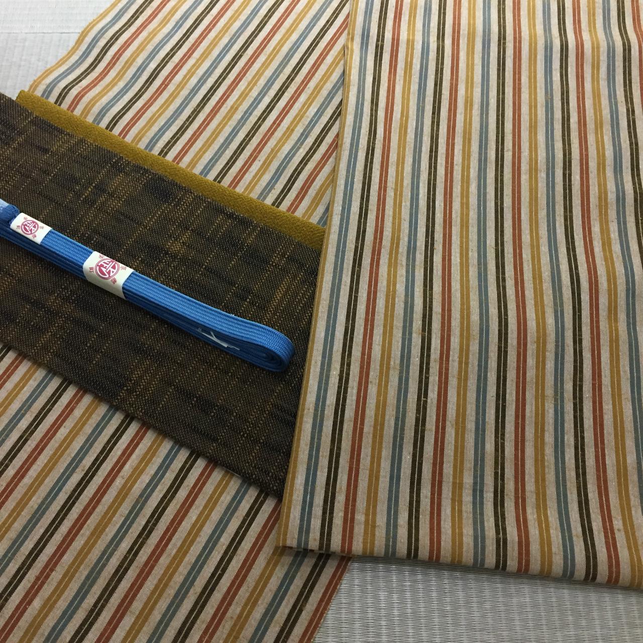 【誂え品】遠州木綿 小幅 黄葉 *お仕立代込