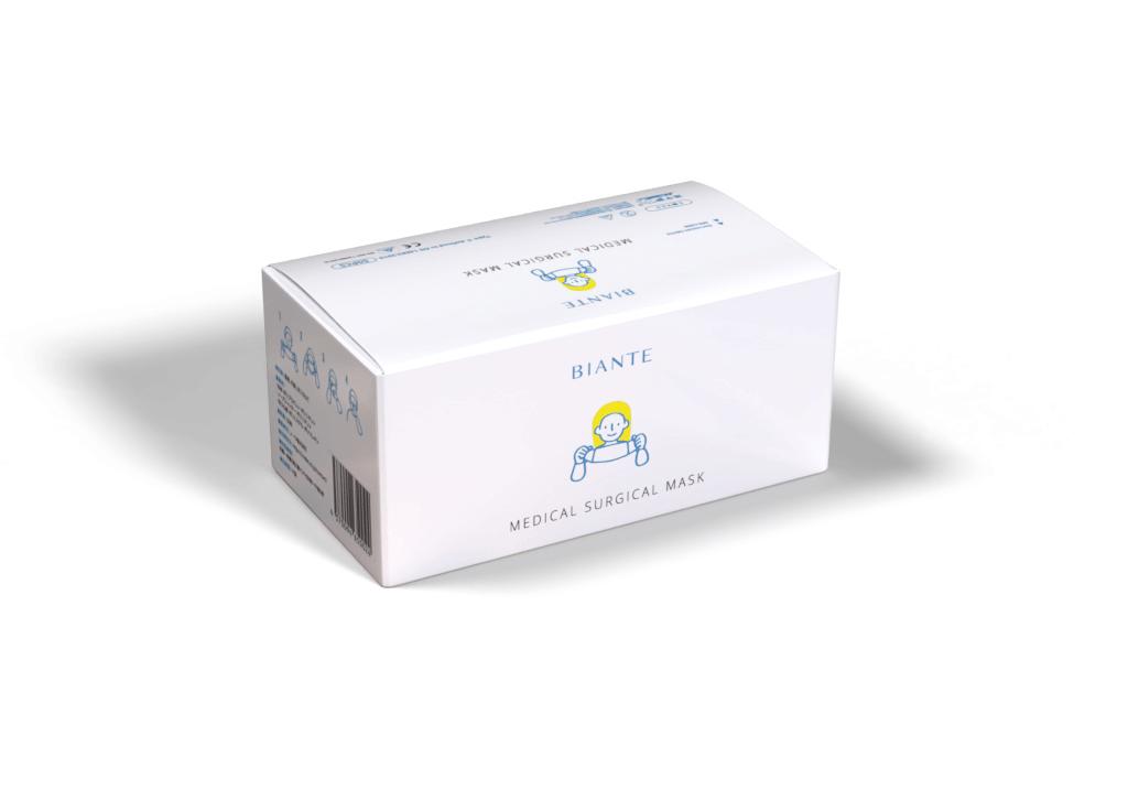 BIANTE 医療機関向けサージカルマスク CEマーク取得 TÜV Rheinland ISO13485 認証 YY0469-2011医療外科マスク試験合格品 1箱50枚入り