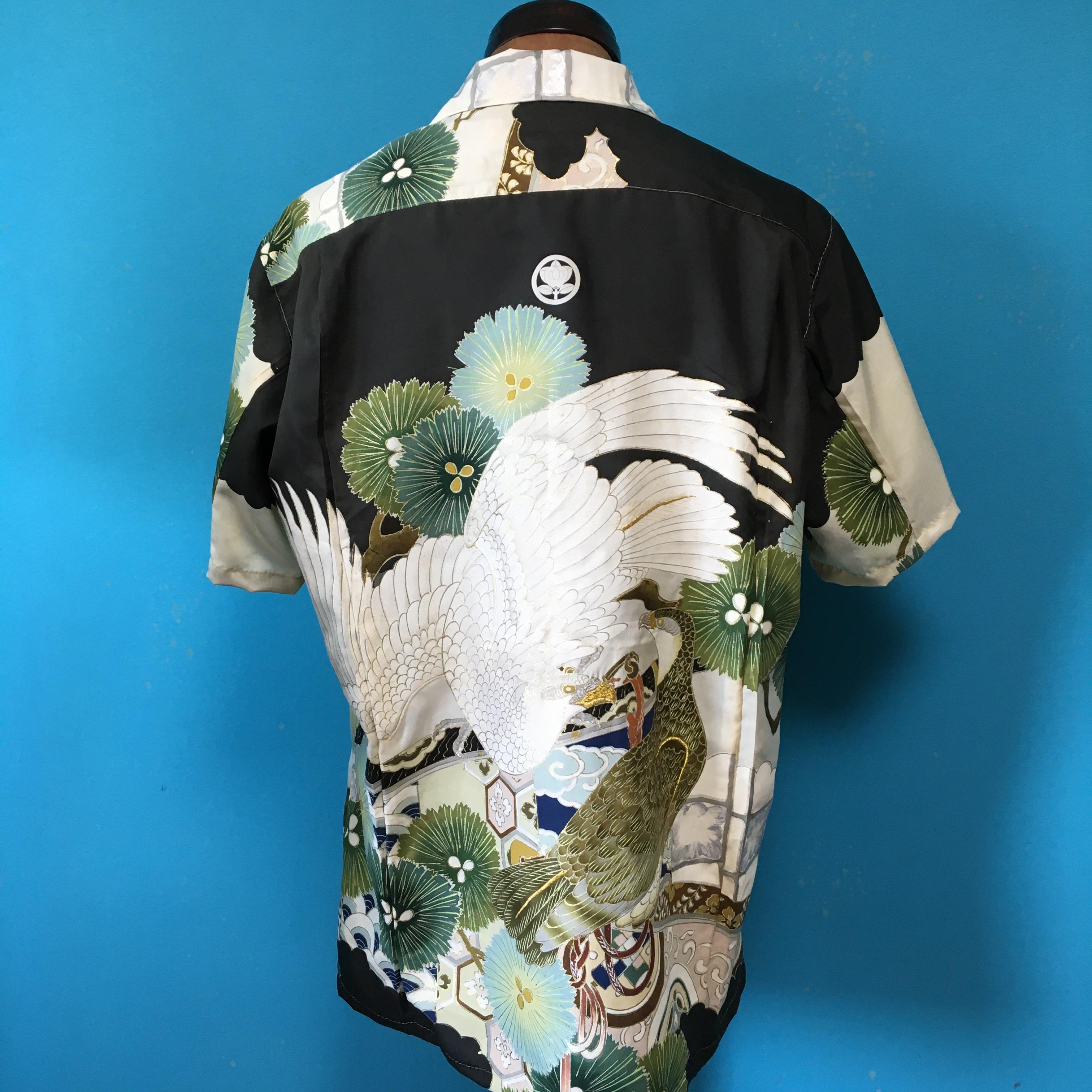 Vintage正絹産着のアロハ 鷹 US M