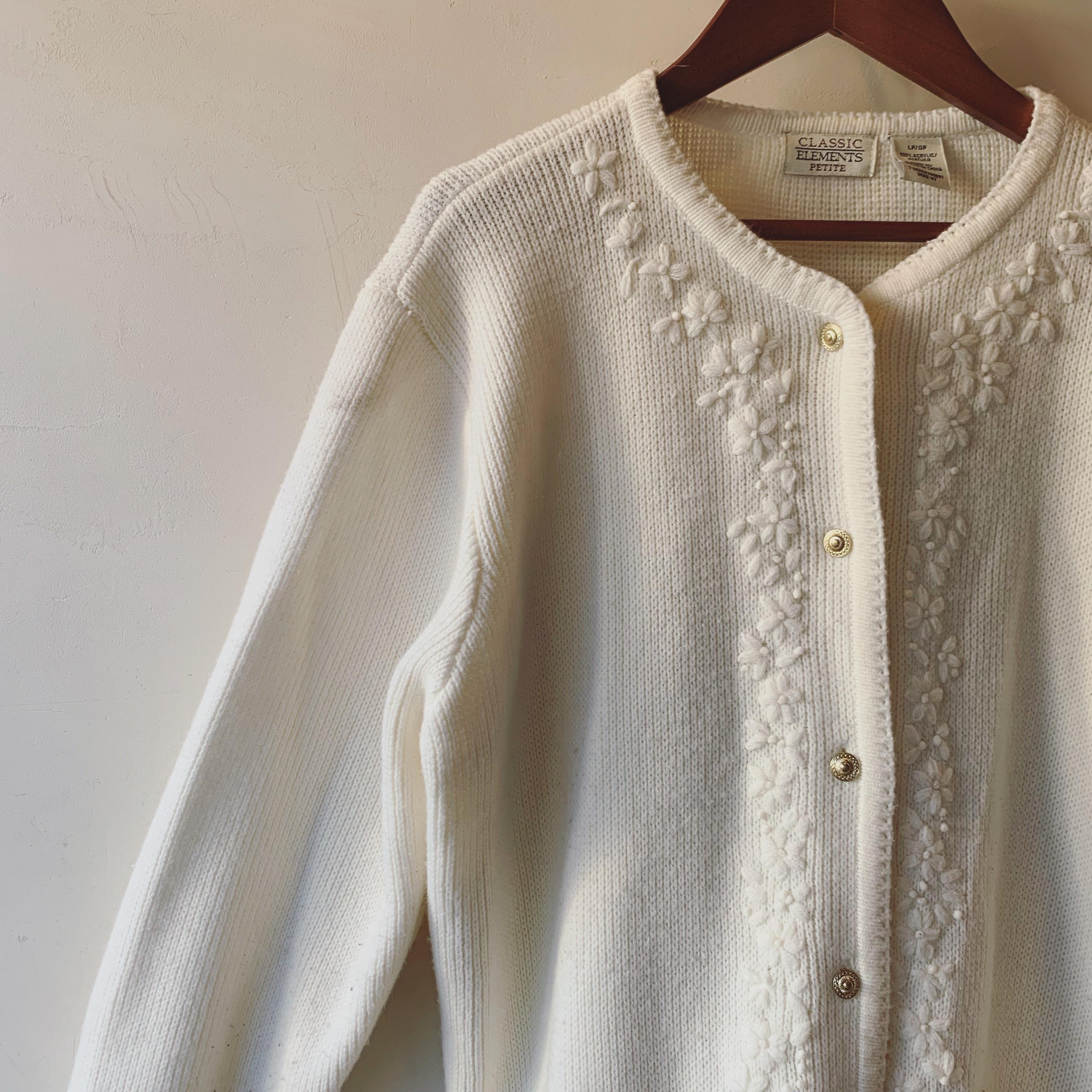 vintage flower embroidered knit cardigan
