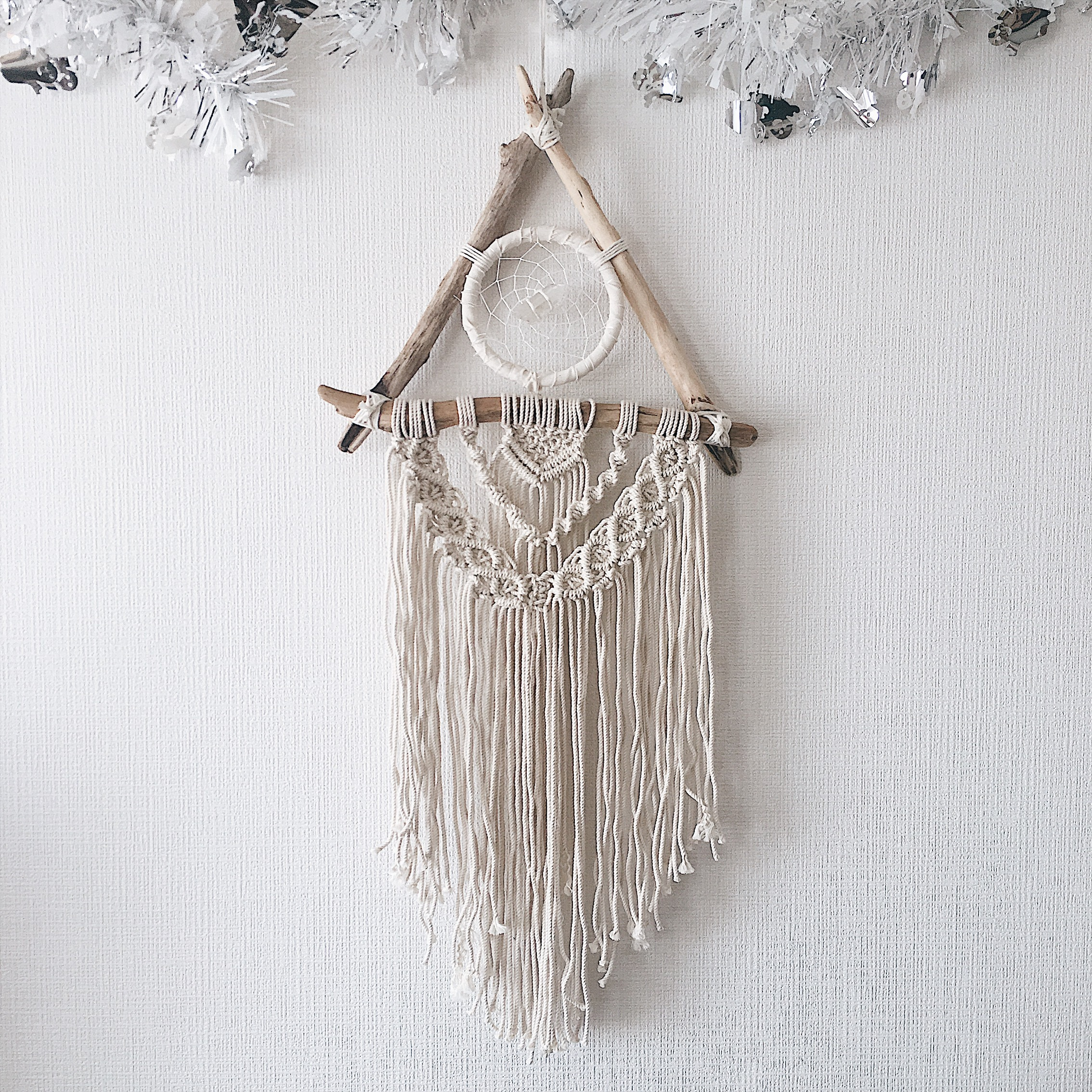 Triangle Driftwood Dreamcatcher - crystal -