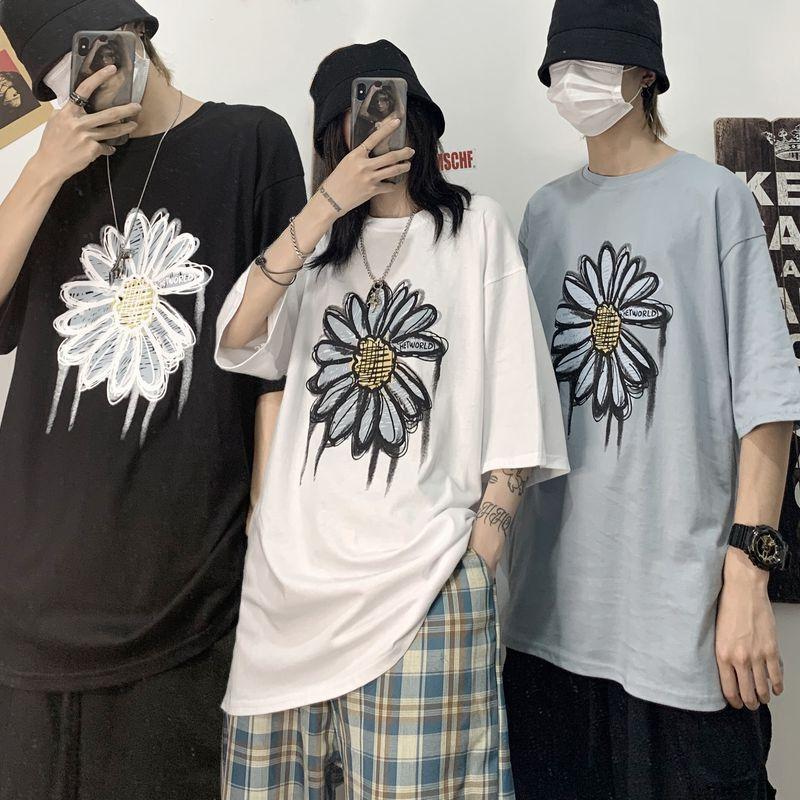 ユニセックス Tシャツ 半袖 メンズ レディース ラウンドネック フラワー 花 プリント オーバーサイズ 大きいサイズ ルーズ ストリート