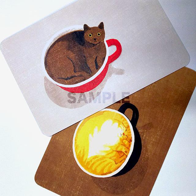 台湾ポストカード「アメリカン猫とラテ猫」2枚組