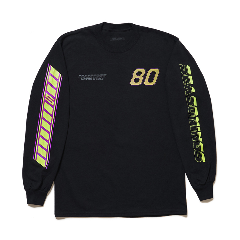 "SEASONING × GIONO L/S TEE ""MOTORCYCLE"" - BLACK"