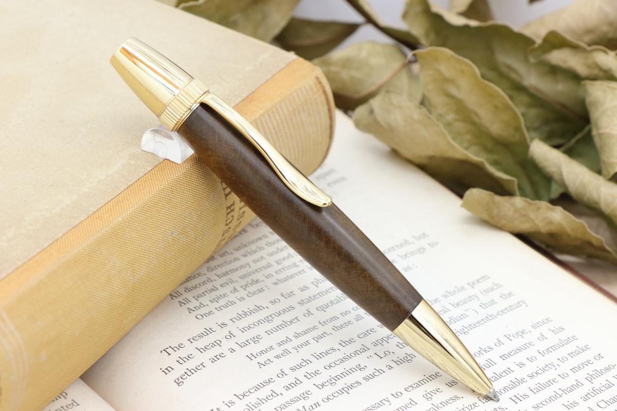 在庫あり「Chouette・沈金の輝き 国産銘木 桑の木 瘤材 特上」希少木の手作りボールペンViriditas♬ジェットストリーム芯対応