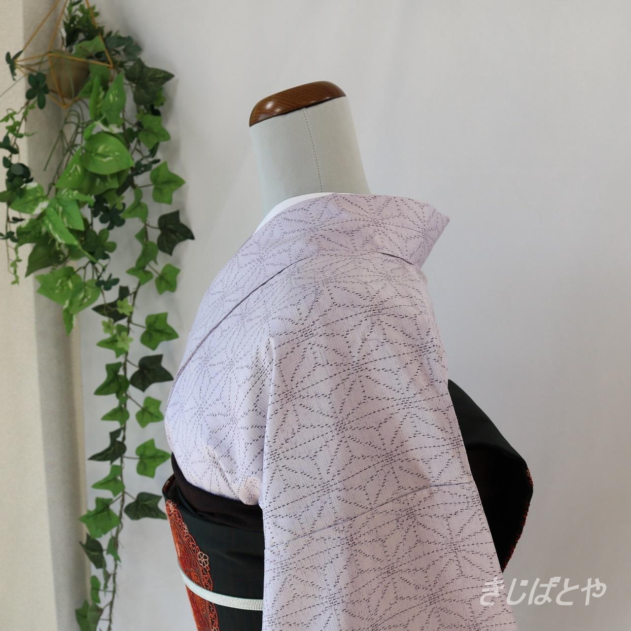 正絹紬 霞色に麻の葉の小紋 袷