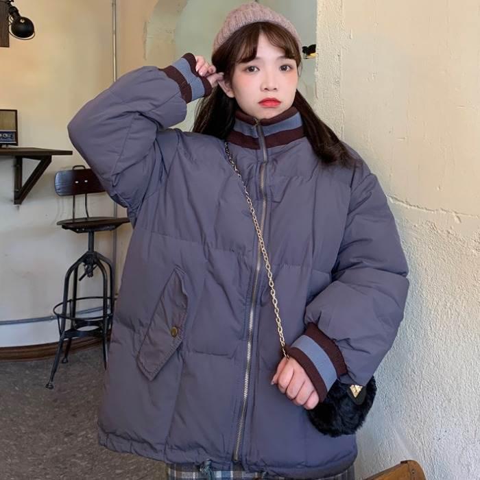 【送料無料】 カラーラインがアクセント♡ ハイネック ダウン ジャケット コート カジュアル アウター ギャザー付き