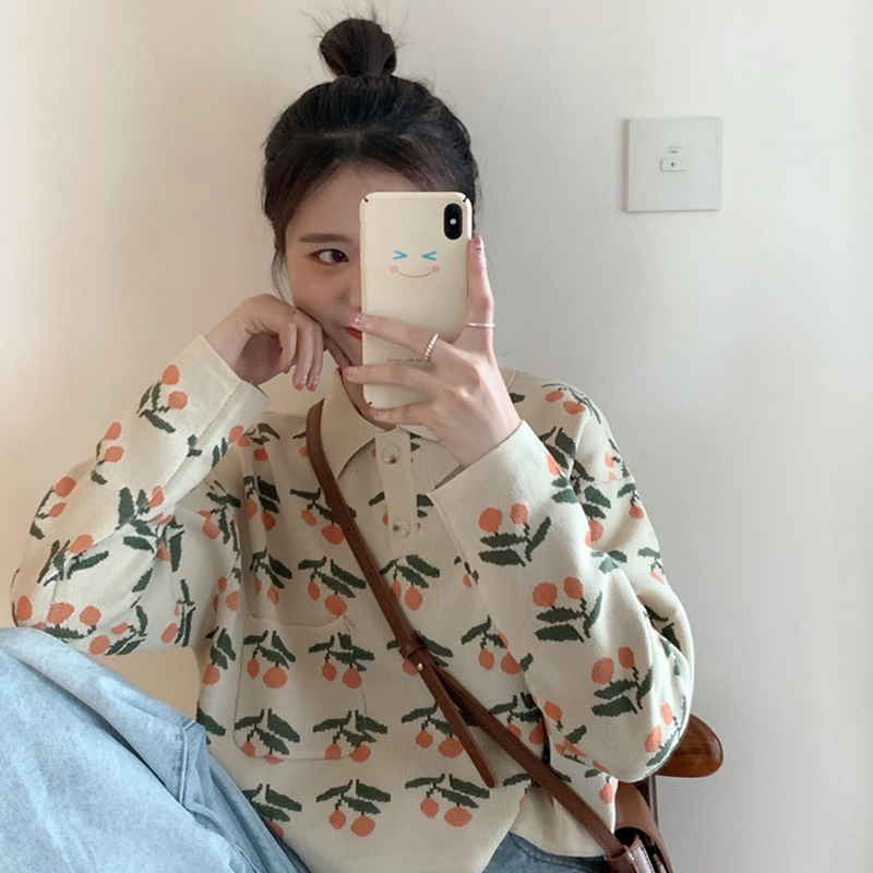 【送料無料】可愛い チェリー柄 ♡ レトロ ポロシャツ風 襟付き ショート丈 ニット プルオーバー